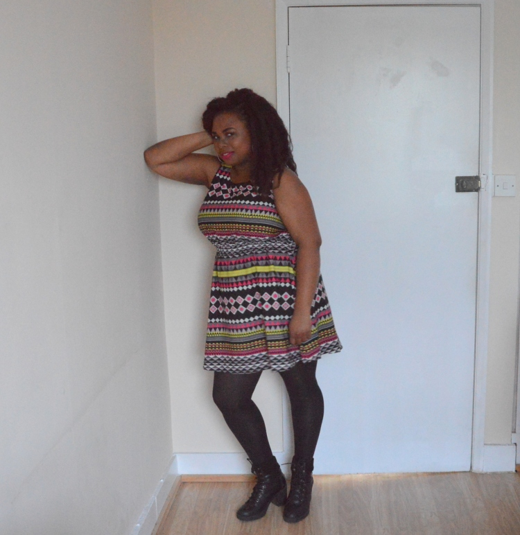 Birthday outfit - aztec printed dress-modifie2