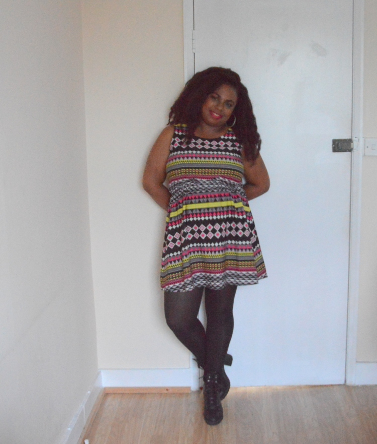 Birthday outfit - aztec printed dress modifie3