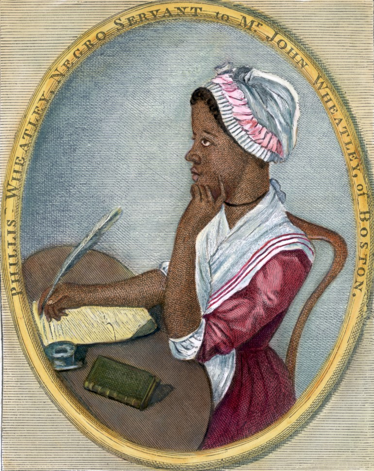 "18th century --- Phillis Wheatley (1753-1784). Portrait of American poet seated at a desk writing with a quill pen. Undated hand-tinted color engraving with an original caption station, ""Phillis Wheatley, Negro servant to Mr. John Wheatley, of Boston."" --- Image by © Bettmann/CORBIS"